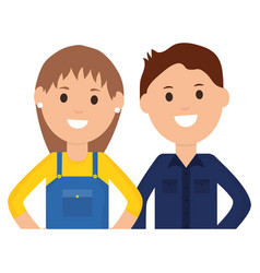 female builder worker with young man vector image