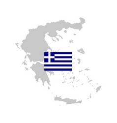 Flag and map greece vector