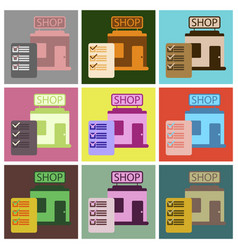 Flat icons set shop form vector