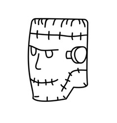 frankenstein icon doodle hand drawn or black vector image