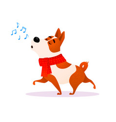 funny cartoon singing dog new year flat character vector image vector image