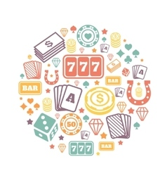 Gambling icons set casino and card poker game vector image