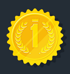 Golden medal icon vector