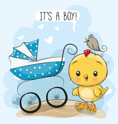 Greeting card its a boy with baby carriage vector