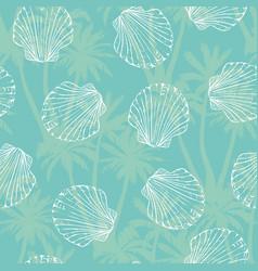 hand drawn - seamless pattern of seashells marine vector image