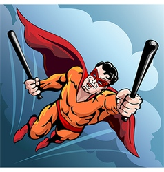 Hero with baseball bats vector image