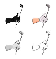 Holding of a golf club icon in cartoon style vector