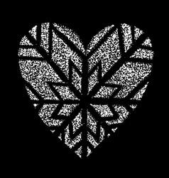 I like winter snowing grunge logo heart shape vector