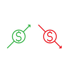 Isolated dollar sign with arrow pointing up vector