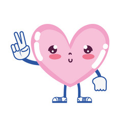 Kawaii cute heart with arms and legs vector