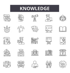knowledge line icons signs set outline vector image