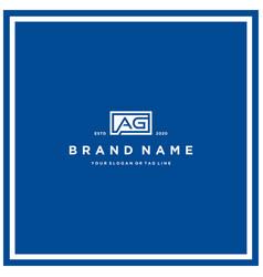Letter ag rectangle logo design vector