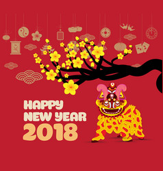 Lion dancing and chinese new year with blossom vector
