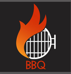 logo bbq grill on black background graphic vector image