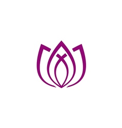 lotus flower line abstract yoga logo vector image