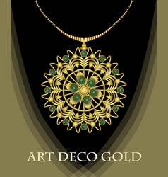 luxurious art deco necklace with green gems vector image