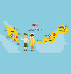 Malaysia map and landmarks with people vector