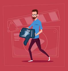Man hold thumb down modern video blogger vlog vector