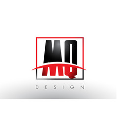 Mq m q logo letters with red and black colors vector