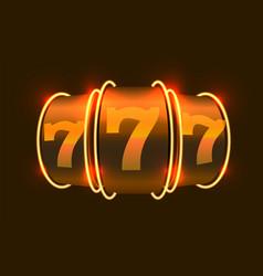 Neon slot machine wins jackpot 777 big win vector