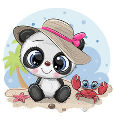panda girl in a hat and cute crab on beach vector image