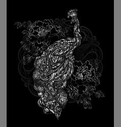 Peacock tattoo vector