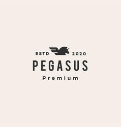 pegasus unicorn wing hipster vintage logo icon vector image