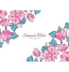 Pink blue kimono flowers horizontal double vector