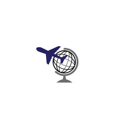plane fly around the globe for logo design vector image
