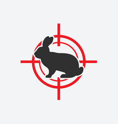 rabbit silhouette animal pest icon red target vector image