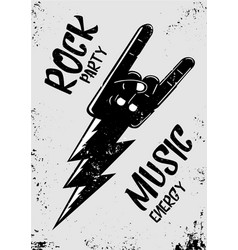 Rock music poster with hand and thunderbolt vector