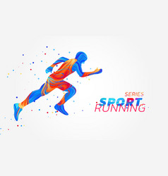 runner with colorful spots isolated on white vector image