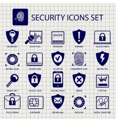 Security icons on notebook page vector