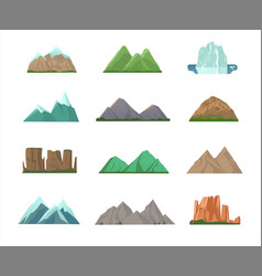 set colorful mountain peaks vector image