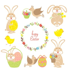 Set for Easter Easter bunnies flowers birds vector image