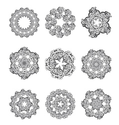 Set Mandalas Round Ornament vector