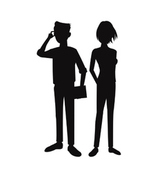 silhouette teens boy girl pose standing student vector image