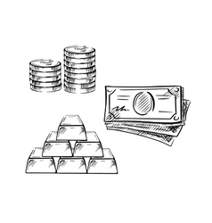 Sketch of dollar bills coins and gold bars vector
