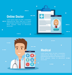 Smartphone with doctor and telemedicine icons vector