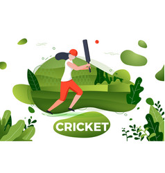 sporty girl playing cricket vector image