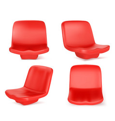 Stadium seats red chairs front and angle view vector