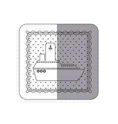 sticker monochrome contour frame of vessel and vector image
