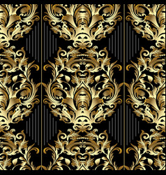 striped baroque seamless pattern black vector image