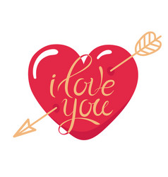 Tattoo i love you heart pierced gold arrow vector