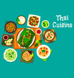 Thai cuisine lunch icon for restaurant menu design vector