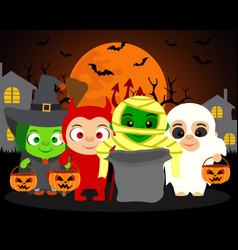 Trick or treat halloween background with kids in vector