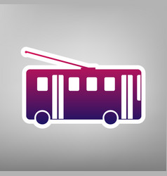 Trolleybus sign purple gradient icon on vector