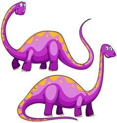 Two purple dinosaurs smiling vector image