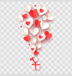 Valentine day greeting card cut out paper hearts vector