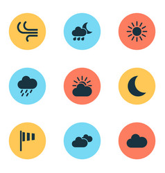 Weather icons set collection of weather flag vector